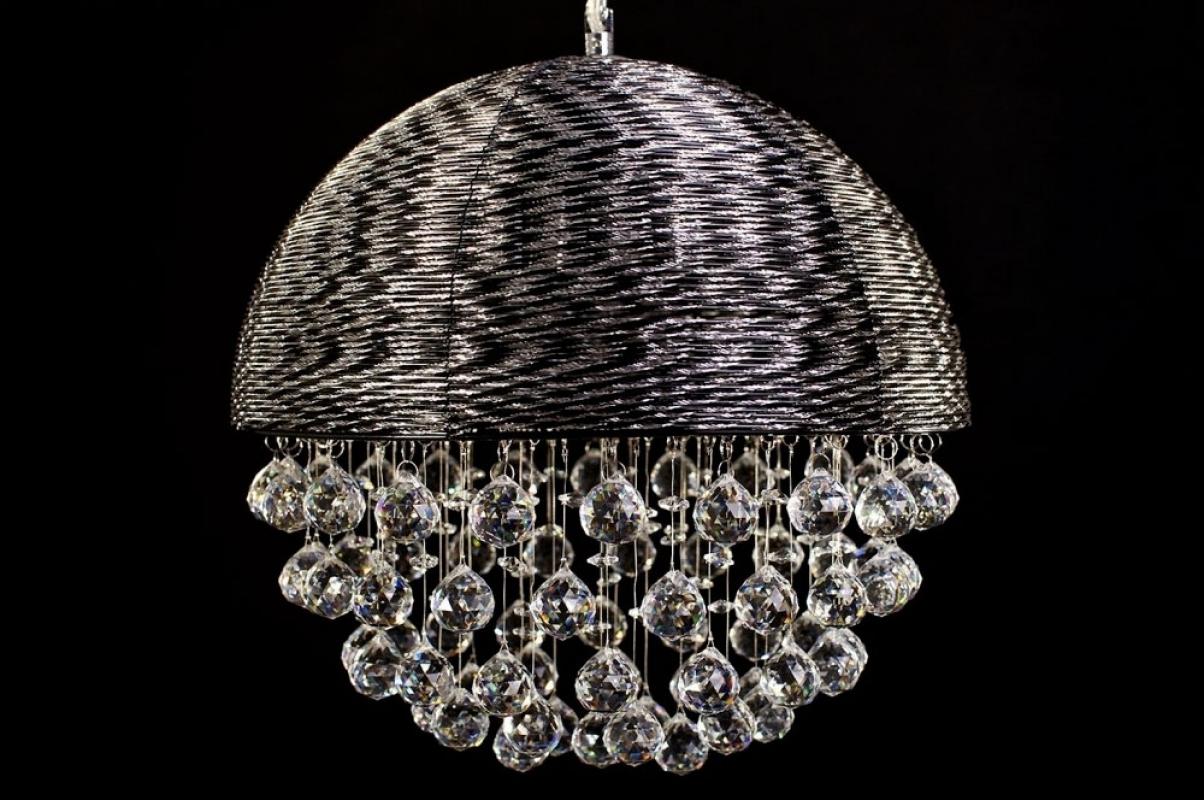 lampadario nero : Lampadario moderno a sospensione in alluminio Nero con cristalli