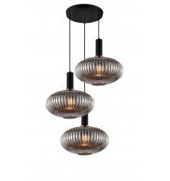 Lampada a sospensione moderno di design a tre sfere in vetro colore grigio fumo FLORI W3-RD