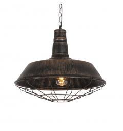 Lampada a sospensione in Stile Industriale vintage in metallo di colore oro antico con nero ARIGIO D45