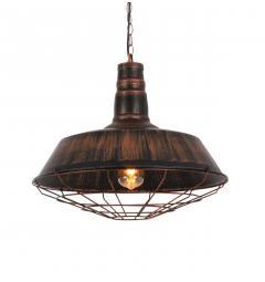 Lampada a sospensione in Stile Industriale vintage in metallo di colore ottone antico con nero ARIGIO D45