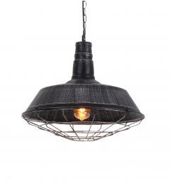 Lampada a sospensione in Stile Industriale vintage in metallo di colore argento antico con nero ARIGIO D45