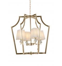 Lampadario a sospensione moderno in metallo dorato con paralume in tessuto bianco con 4 punti di luce MONTERO
