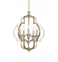 Lampadario a sospensione in stile classico vintage 5 punti luce con cristallo e metallo colore oro CESARO W5
