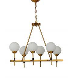 Lampadario a sospensione moderno di design in metallo colore ottone con 6 luci a sfera in vetro bianco ALDONO W6