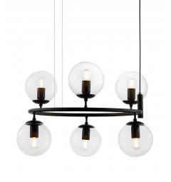 Lampadario rotondo  in metallo colore nero a sospensione moderno di design con 6 sfera in vetro trasparente CEREDO NEO