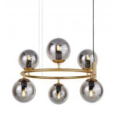 Lampadario rotondo a sospensione in metallo colore ottone moderno di design con 6 sfera in vetro grigio fumo CEREDO NEO