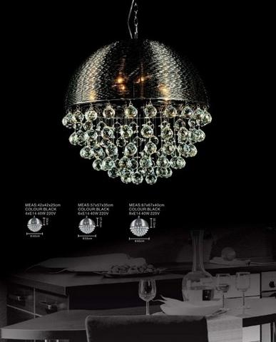 lampadario moderno candelabro nero : Lampadario moderno a sospensione in alluminio Nero con cristalli