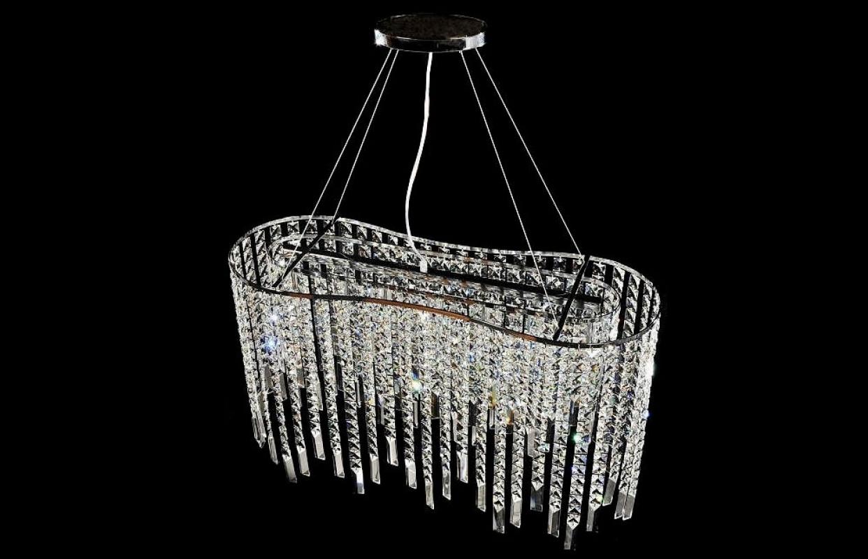 Lampadario Rosa Cristallo : Elegante lampadario a sospensione con catene di cristalli