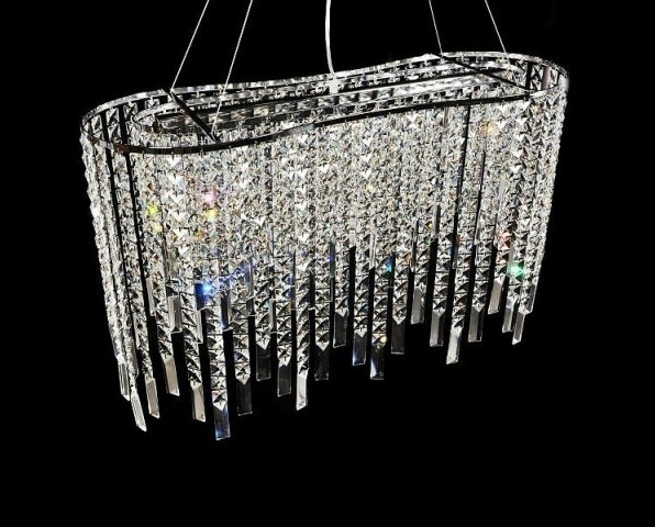 Elegante Lampadario a sospensione con catene di cristalli