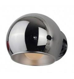 Applique lampada da parete da muro a sfera in metallo e alluminio Aurora Solo colore Cromato