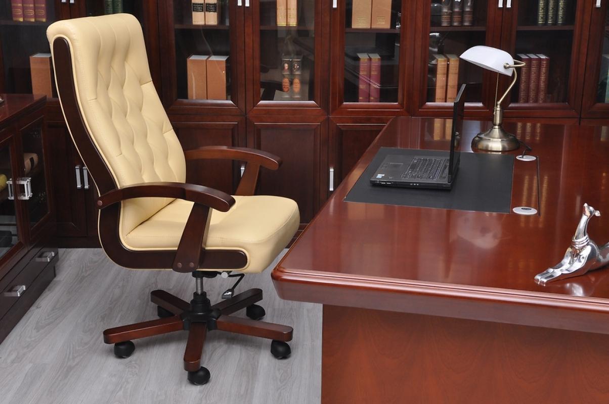 Poltrona Ufficio Elegante : Poltrona direzionale in pelle beige crema moderna ed elegante