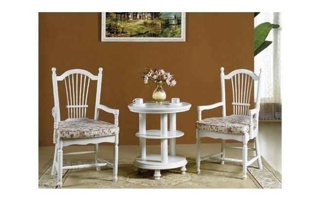 Tavolo tavolino rotondo basso bianco ripiani in stile classico casa