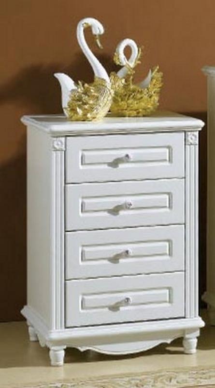 Cassettiera in colore bianco composta da 4 cassetti in stile classico - Arredo camera da letto ...