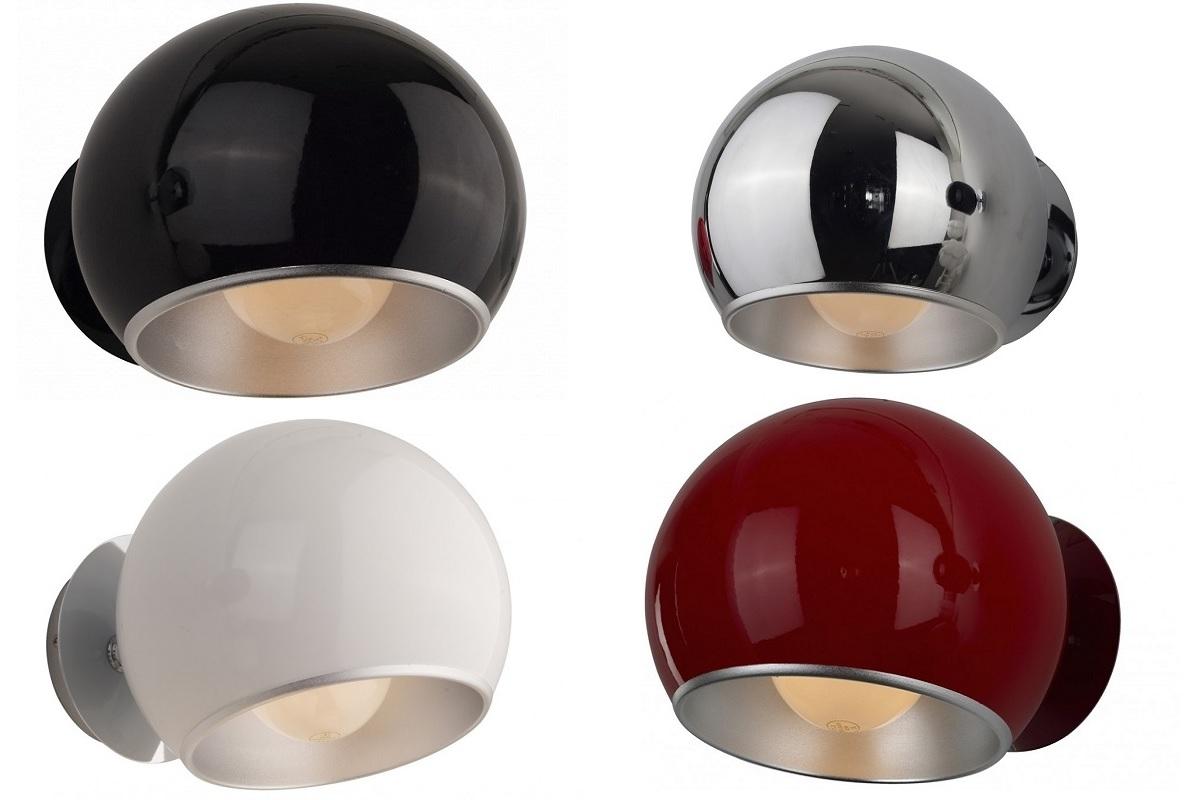 Applique lampada da parete muro a sfera in metallo e alluminio cromato
