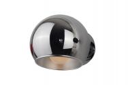 Applique lampada da parete a sfera in metallo e alluminio Aurora Solo Cromato