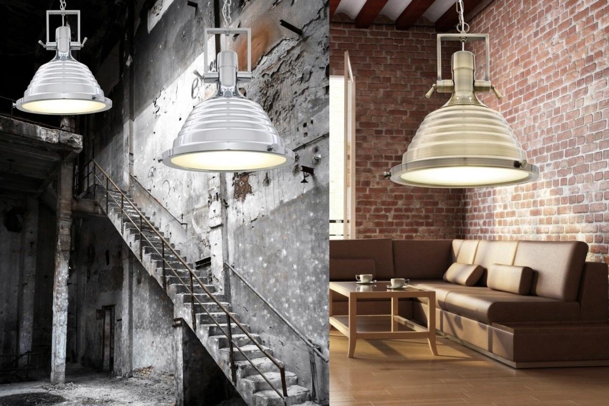 Lampade Ufficio Sospensione : Lampadario a sospensione in stile industriale braggi colore cromato