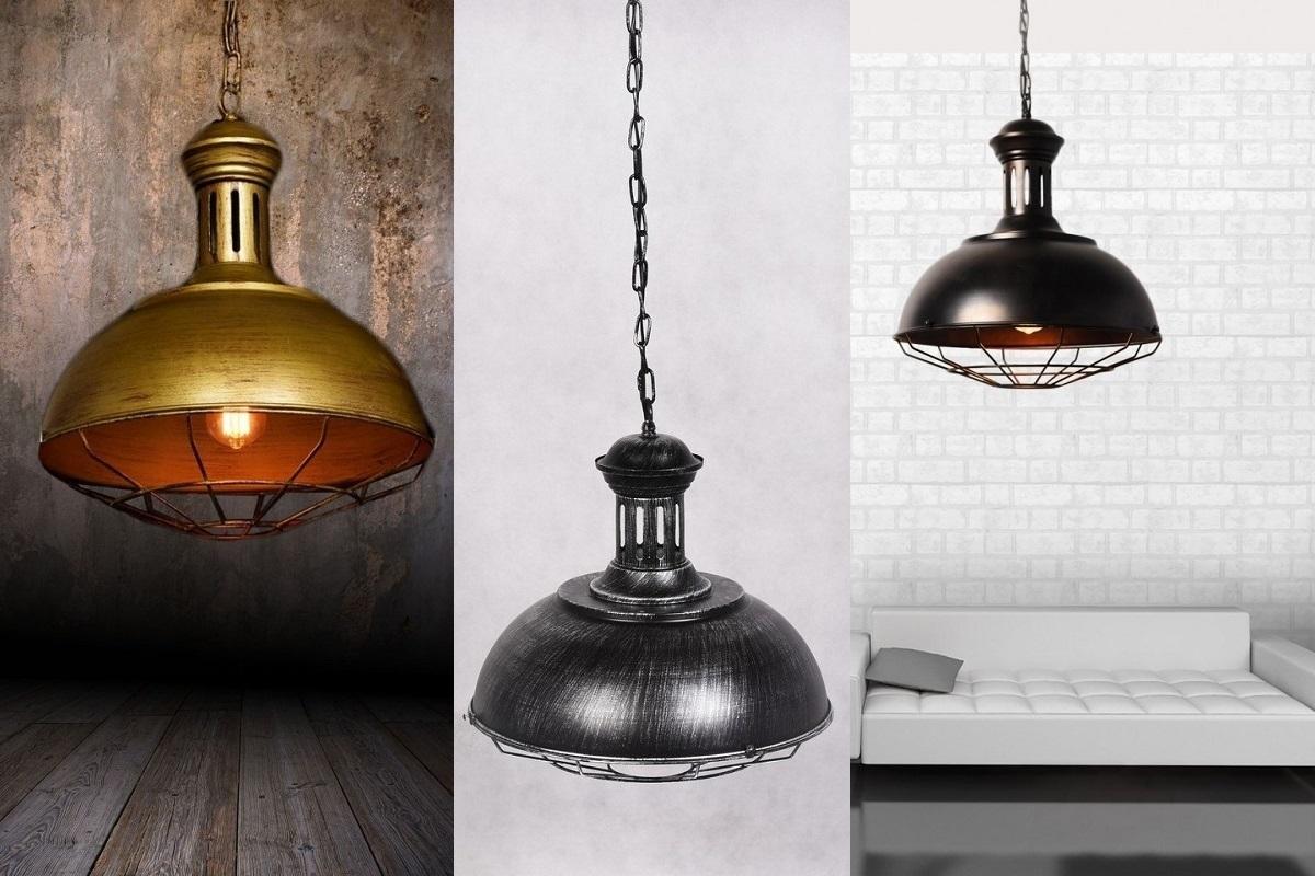 Lampadario vintage in gabbia stile industriale boccato for Lampadario vintage