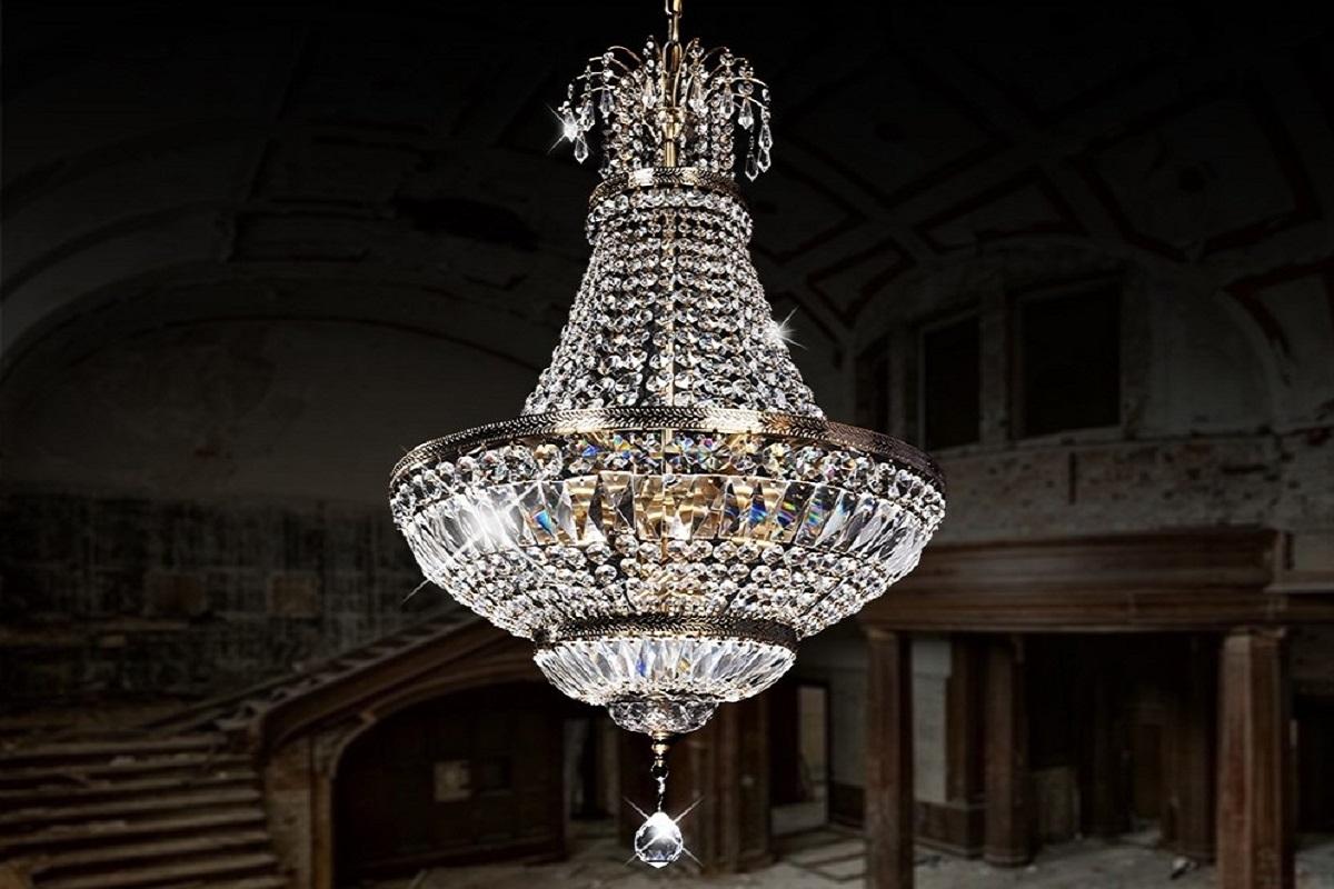 Lampadario di cristallo a sospensione stile classico per for Lampadario classico
