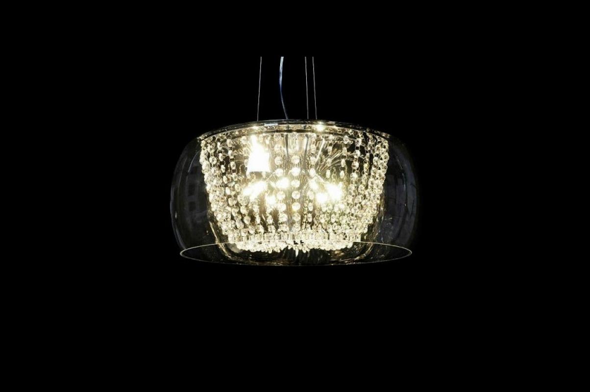 Lampadario moderno in vetro Trasparente e cristallo per cucina casa
