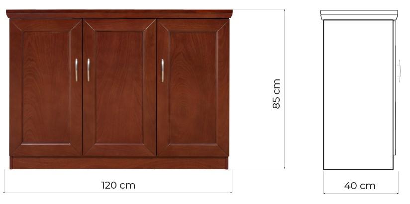 mobiletto basso per ufficio tre ante chiuse legno PRESTIGE C735B