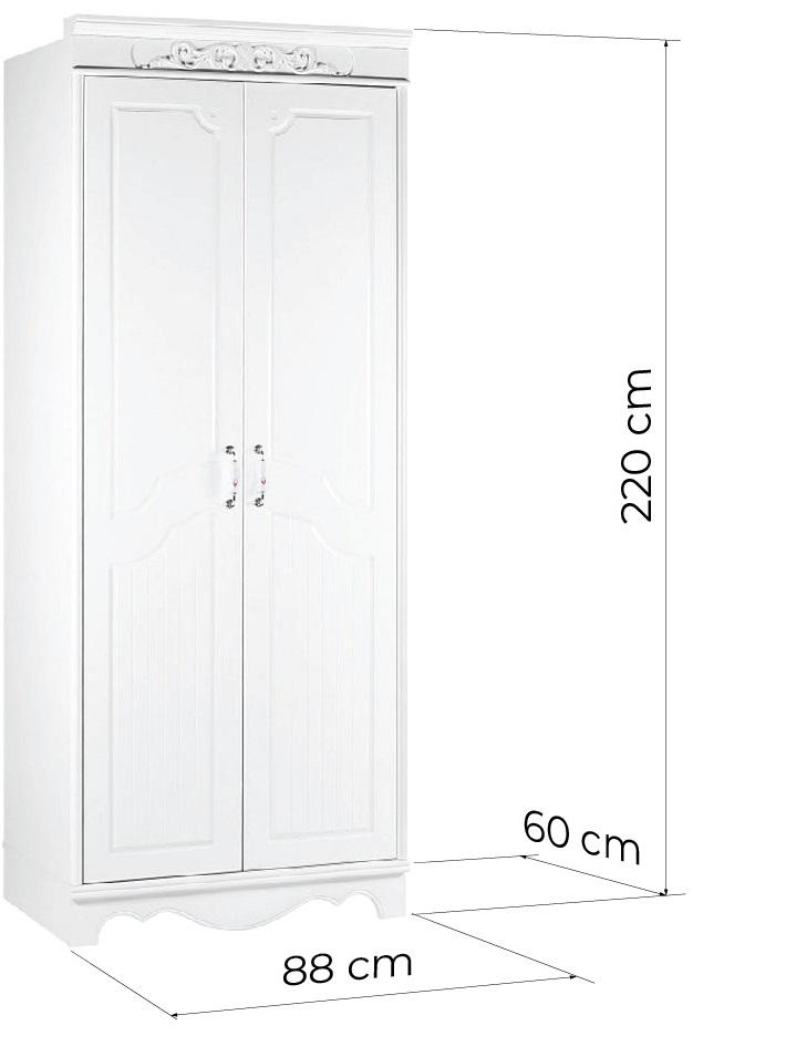 armadio provenzale a due ante di colore bianco