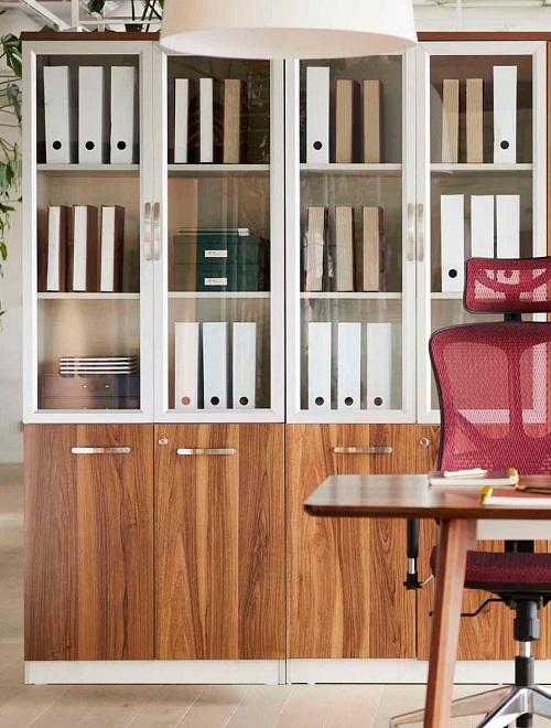 armadio ufficio ante vetro e legno