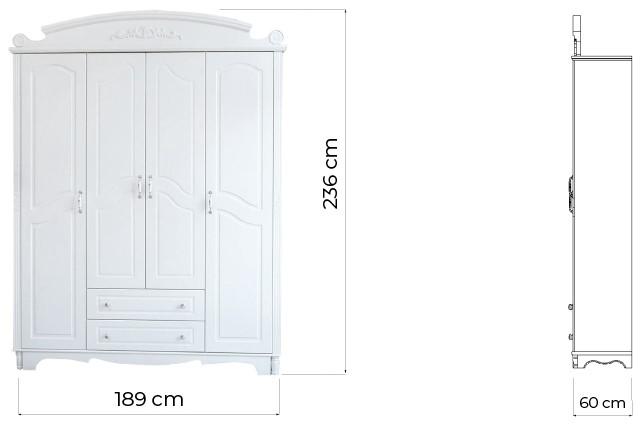 armadio provenzale 4 ante legno bianco misure