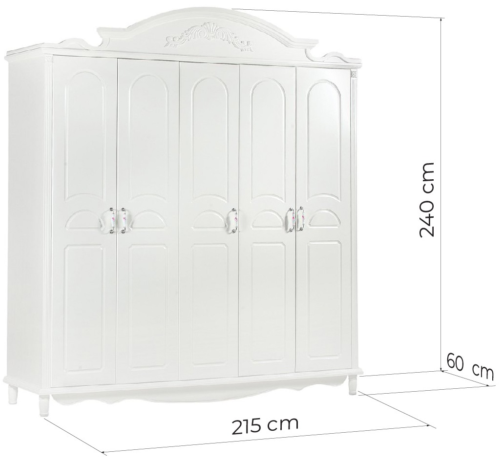 armadio bianco 5 ante stile provenzale