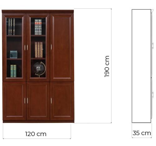 armadio da ufficio in legno tre ante elegante stile classico marrone noce Arrediorg PRESTIGE C630A
