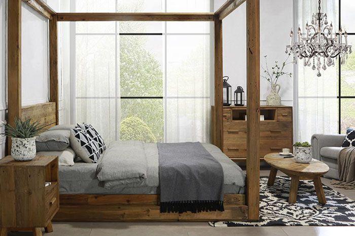 camera da letto scandinava legno naturale