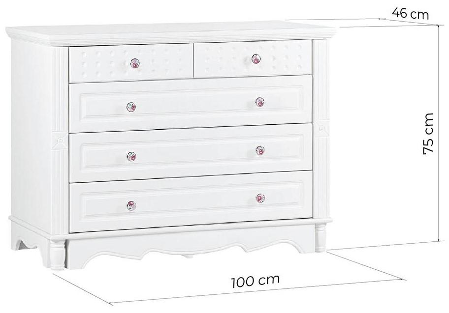 cassettiera bianca stile francese in legno bianco princess 805 arrediorg