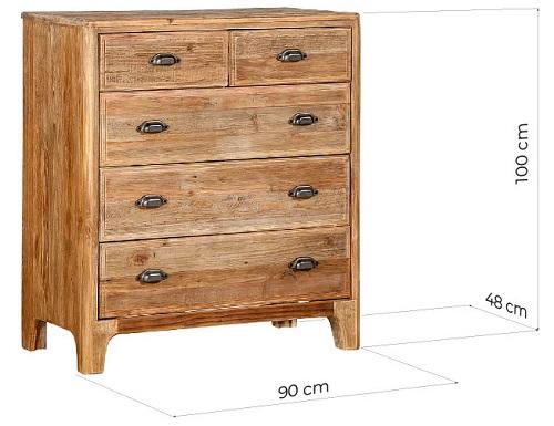 cassettiera legno naturale misure
