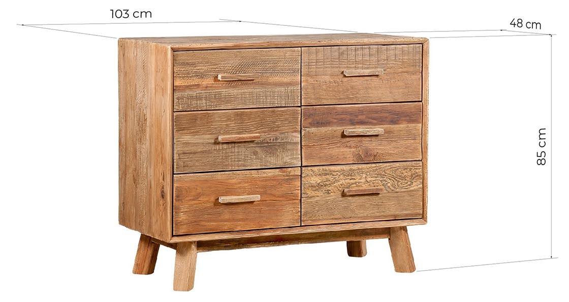 cassettiera rettangolare vintage in legno rustico naturale