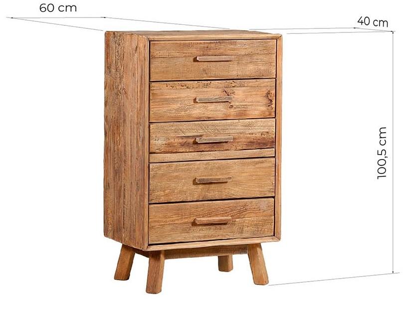 comodino cassettiera legno rustico