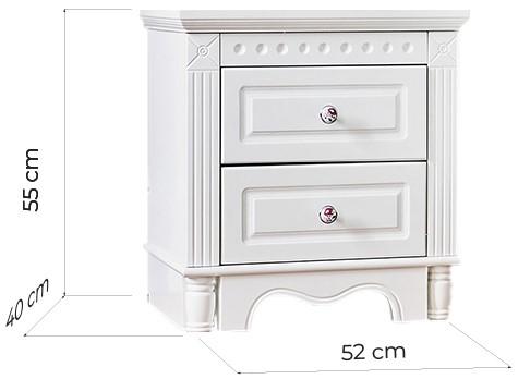 comodino provenzale bianco con cassetti in legno princess 805