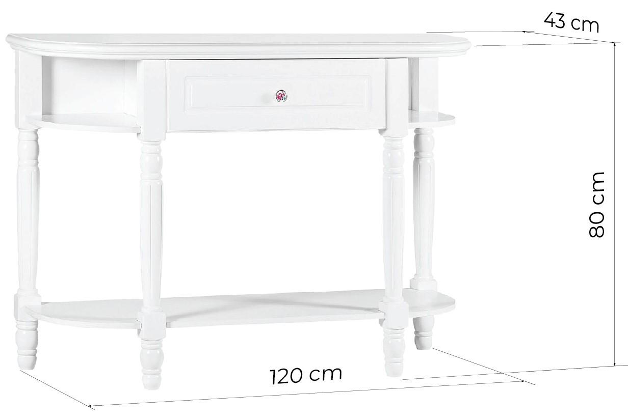 consolle provenzale bianca con cassetto in legno princess 829 arrediorg