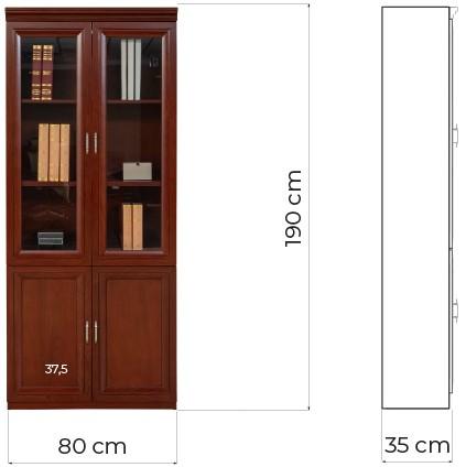 libreria ufficio ante vetro stile classico legno marrone noce prestige c620a