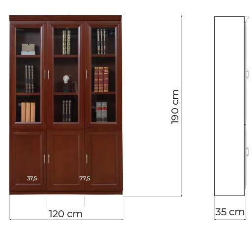 librerie ufficio legno con ante vetro marrone noce PRESTIGE C630C arrediorg