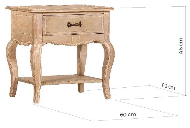 misure comodino shabby legno