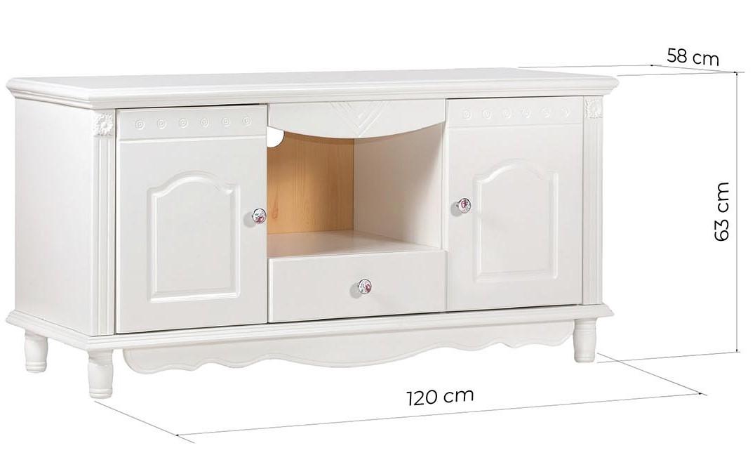 mobile porta tv legno bianco con ante e cassetti lungo 120 cm in stile provenzale