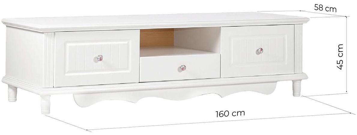 mobile basso tv bianco stile provenzale in legno PRINCESS 860 arrediorg