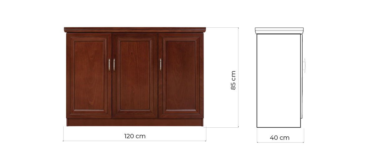 mobile basso per ufficio tre ante legno stile classico elegante PRESTICE C635B