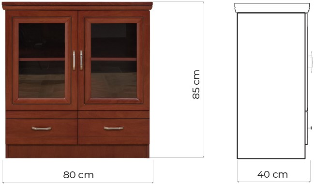 mobiletto comodino basso due ante vetro per ufficio prestige c625b