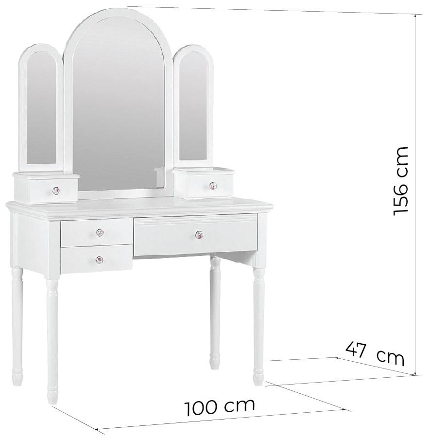 postazione trucco colore bianco con specchio princess