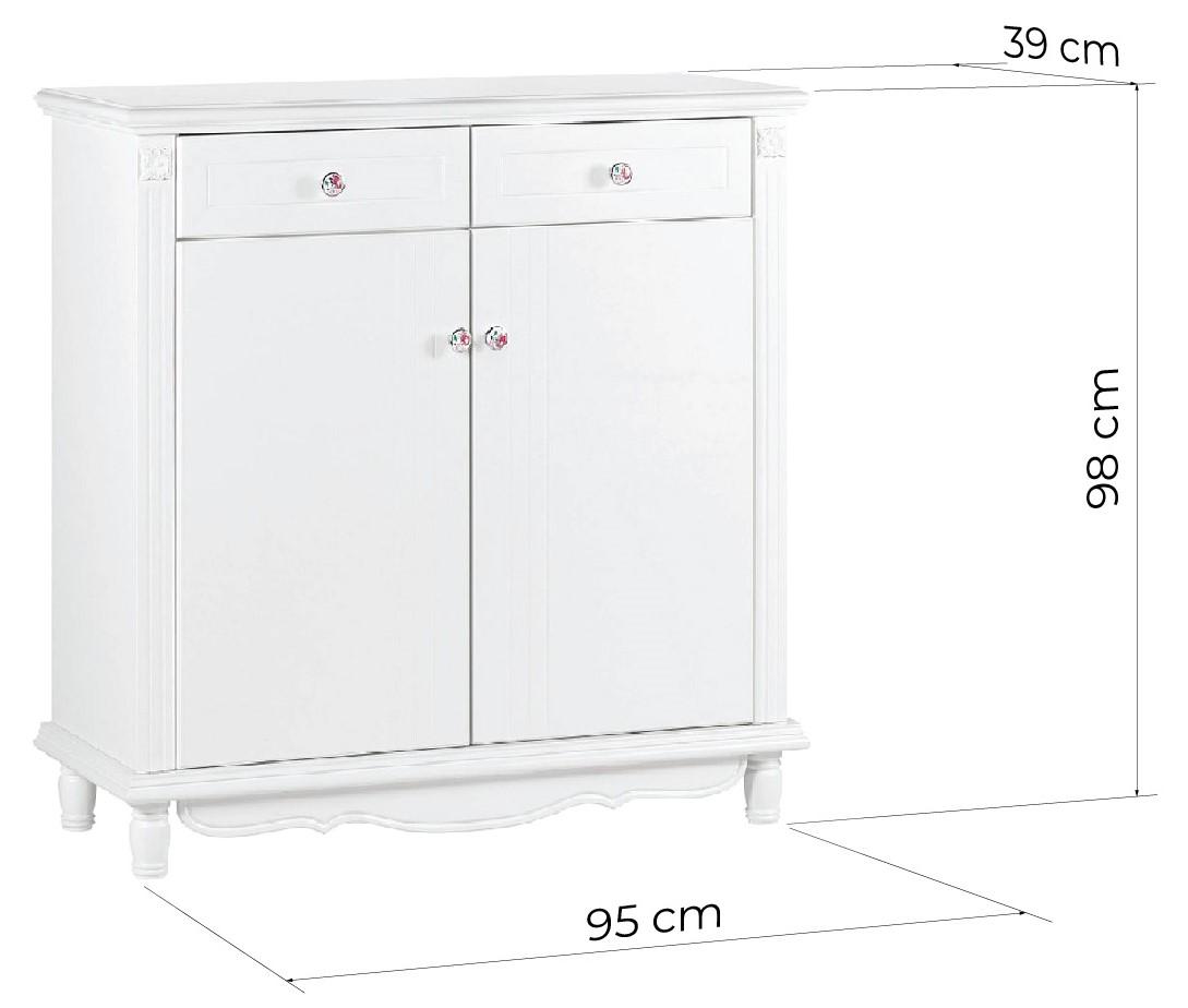 scarpiera legno bianca stile provenzale francese con cassetti PRINCESS
