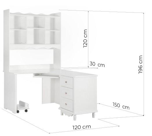 scrivania angolare con libreria di colore bianco in stile provenzale Misure PRINCESS 813 Arrediorg