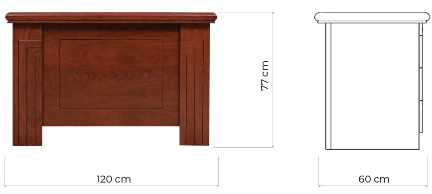 scrivania classica con cassetti laterale con piano lungo 120 cm prestige B420