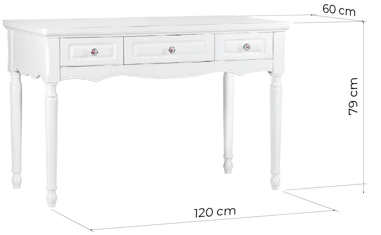 scrivania bianca provenzale con cassett