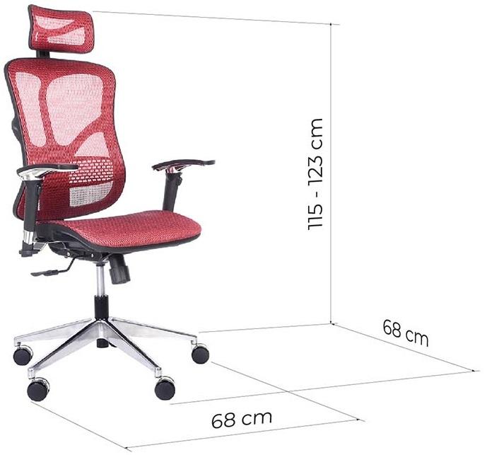 sedia ergonomica rossa in tessuto