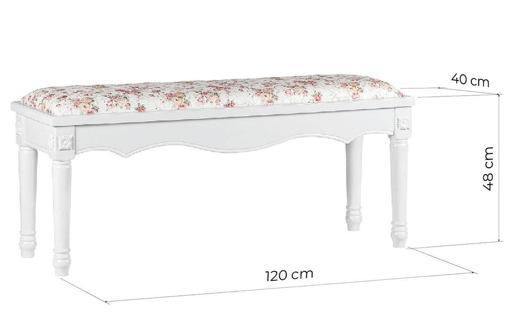 panca fondo letto bianca legno stile provenzale con cuscino a fiori PRINCESS